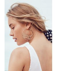 Urban Outfitters - Metallic Etched Rose Statement Hoop Earring - Lyst