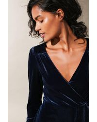 Urban Outfitters - Blue Uo Goldmine Velvet Surplice Romper - Lyst