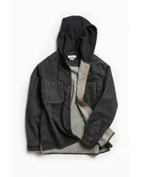 Urban Outfitters - Black Uo Hooded Denim Button-down Shirt for Men - Lyst
