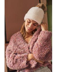 Urban Outfitters - White Fuzzy Pompom Beanie - Lyst