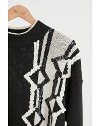 Urban Outfitters - Vintage Black + White Sequin Sweater - Lyst
