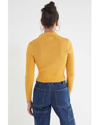 Urban Outfitters - Yellow Uo Toni Collared Zip-front Sweater - Lyst