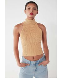 d8ef6f366ff53 Urban Outfitters. Uo Jenna Sleeveless Turtleneck Brown Jumper - Womens S