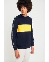 Urban Outfitters - Blue Uo Navy And Yellow Piped Sweatshirt for Men - Lyst