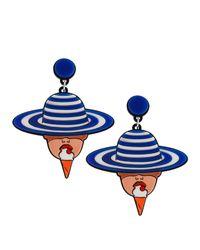 Yazbukey | Blue Lady Of Leisure Earrings | Lyst