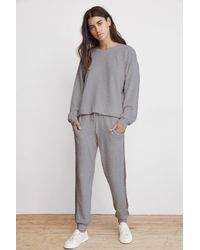 Velvet By Graham & Spencer - Gray Jetta Metallic Trim Charcoal Luxe Fleece Sweatpant - Lyst