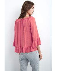 Velvet By Graham & Spencer - Pink Jamarina Off The Shoulder Dobby Top - Lyst
