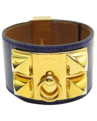 Hermès - Blue Collier De Chien Lizard Bracelet - Lyst