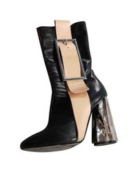 Acne - Black Leather Ankle Boots - Lyst