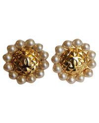 Chanel - Metallic Pre-owned Quilted Earrings. - Lyst