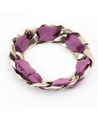 Chanel - Metallic Silver Chain Bracelet - Lyst