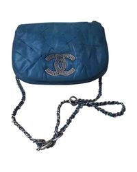 Chanel - Blue Pre-owned Leather Crossbody Bag - Lyst