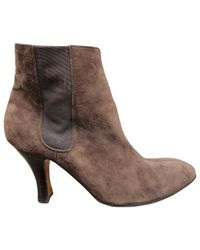 Hermès - Pre-owned Brown Suede Ankle Boots - Lyst
