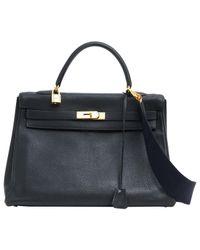 Hermès - Black Pre-owned Kelly Leather Handbag - Lyst