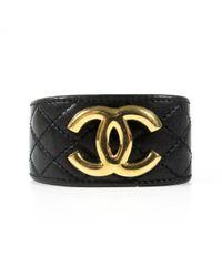 Chanel - Black Pre-owned Leather Bracelet - Lyst