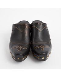 Ralph Lauren Collection - Black Leather Mules & Clogs - Lyst