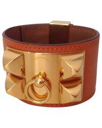 Hermès - Orange Pre-owned Collier De Chien Leather Bracelet - Lyst