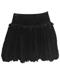 Alaïa - Black Leather Mid-length Skirt - Lyst