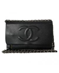6894af5a7e63 Lyst - Chanel Wallet On Chain Leather Handbag in Black