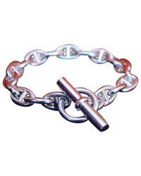 Hermès - Metallic Chaîne D'ancre Silver Bracelet - Lyst