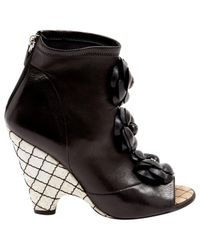 Chanel - Black Leather Open Toe Boots - Lyst