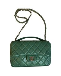 Lyst - Chanel Timeless Leather Crossbody Bag in Green b50986165dab6