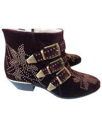 Chloé - Multicolor Susanna Velvet Buckled Boots - Lyst