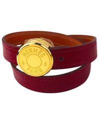Hermès | Red Clou De Selle Leather Bracelet | Lyst
