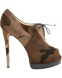 Christian Louboutin - Brown Pony-style Calfskin Lace Up Boots - Lyst