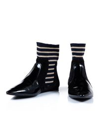 Acne Black Patent Leather Ankle Boots