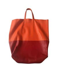 Céline - Orange Pre-owned Cabas Leather Tote - Lyst