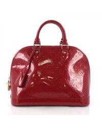 Lyst - Cartable Alma en cuir verni Louis Vuitton en coloris Rouge d5a2621287e