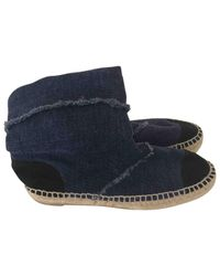 Chanel - Blue Cloth Ankle Boots - Lyst