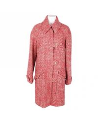 Chanel - Red Pre-owned Tweed Coat - Lyst