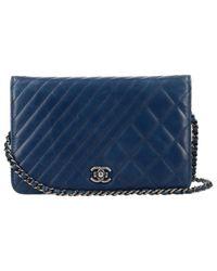 1747ac9baadb Lyst - Chanel Wallet On Chain Leather Crossbody Bag in Blue