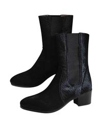 Chanel - Black Pony-style Calfskin Cowboy Boots - Lyst