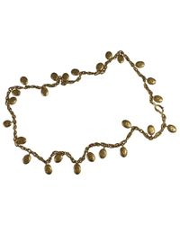 Chanel - Metallic Pre-owned Vintage Gold Metal Long Necklace - Lyst