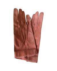 Hermès - Pink Pre-owned Suede Gloves - Lyst