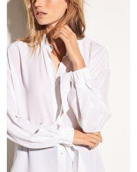 Vince - White Tie Sleeve Silk Blouse - Lyst