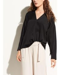 Vince - White Ruched Split-neck Stretch-silk Blouse - Lyst