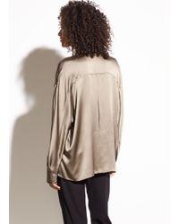 Vince - Natural Single Pocket Silk-crepe Back Satin Blouse - Lyst