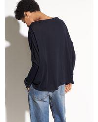 Vince - Blue Pima Cotton Mock Neck Top - Lyst