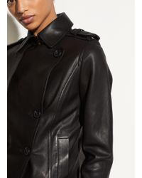 Vince - Black Leather Cropped Trench - Lyst