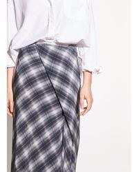 48efd4995d731f Vince Shadow Plaid Side-drape A-line Midi Skirt in Gray - Lyst