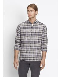 VINCE | Gray Multi Plaid Button Up for Men | Lyst