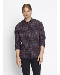 Vince | Blue Yarn Dye Plaid Button Up for Men | Lyst
