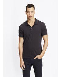Vince | Black Slub Cotton Short Sleeve Polo for Men | Lyst
