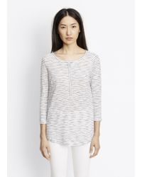 VINCE | White Striped Slub Cotton Three-quarter Sleeve Henley | Lyst