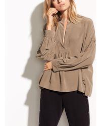 Vince - Multicolor Shirred Silk Blouse - Lyst
