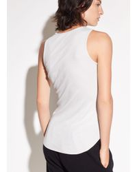 Vince - White High Neck Pima Cotton Tank - Lyst